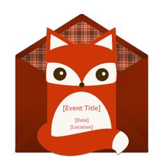Customizable Fox Die Cut online invitations. Easy to personalize and send for a party. #punchbowl