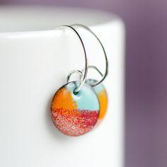 Handmade Small Enamel Earrings, 1/2 Inch Disc, Glass on Copper, Red Orange Blue, Handmade Sterling Silver Wires, Boho Earrings, Boho Chic