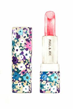 Paul & Joe Lipstick illustration by meegan barnes Sylvia - Jumble? Depending on whether you draw a variety of makeup together or whether you draw items at an interesting angle. Makeup Illustration, Watercolor Illustration, Perfume, Fashion Sketches, Fashion Illustrations, Fashion Art, Girly, Artsy, Art Prints