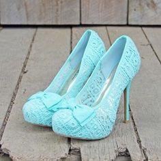 shoes, heels, stilettos, pumps, teal, lace, bows