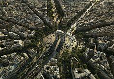 YannArthusBertrand2.org - Fond d écran gratuit à télécharger    Download free wallpaper - L'Arc de Triomphe de l'Étoile et l'avenue des Cham...