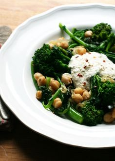 Broccoli Rabe with Chickpeas and Ricotta | Recipes - PureWow - sub the ricotta cheese!