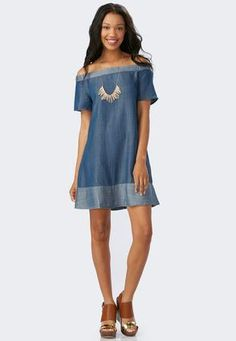 8ce881360cd Cato Fashions Two-Tone Chambray Swing Dress-Plus  CatoFashions Miss Dress