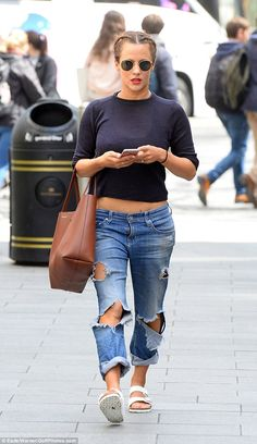 Relaxed style: Caroline Flack was rocking a casual ensemble as she paid a visit to the Capital Radio studios in central London on Thursday Caroline Flack Hair, Caroline Flack Style, Crop Top With Jeans, Ripped Jeans, Birkenstock Outfit, Pinterest Fashion, Autumn Fashion Casual, Minimal Fashion, Celebrity Style