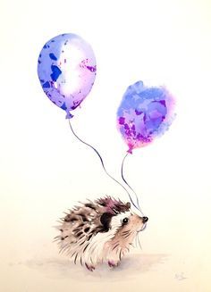 Animal painting-watercolor painting,animal art,watercolor animals,hedgehog painting,original illustration,watercolor art,hedgehog balloon