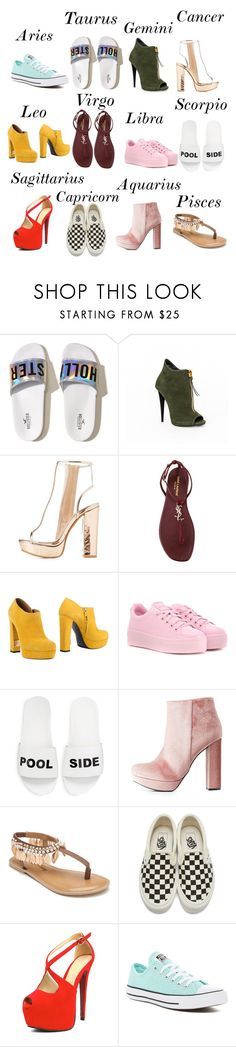 """Shoe Catalog ❗️😁"" by gummyzz ❤ liked on Polyvore featuring Hollister Co., Charlotte Russe, Yves Saint Laurent, R&Renzi, Kenzo, Schutz, Penny Loves Kenny, Vans and Converse"