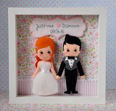 Telaio di casella di nozze personalizzati, scatola cornice, memoria di matrimonio, regalo, telaio box Salva il data, regalo personalizzati, sposi novelli, feltro bambole