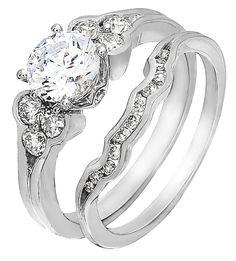 Diamond Wedding Ring Set, .58 Carat Diamonds on 14K White Gold