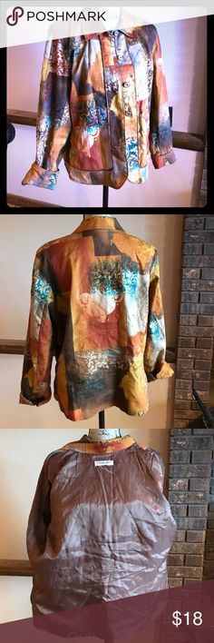 Coldwater creek wearable art blazer Turquoise brown tan cream put together in a truly artistic print. Size rage cut out but fits like a 12/14 in my opinion. Gently worn. Fully lined Coldwater Creek Jackets & Coats Blazers