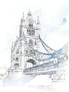 Original watercolour of Tower Bridge London por Freehandline