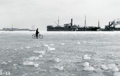 Bicycle on Winter Ice in 1922 - Cycling in Winter in Copenhagen Winter Cycling, Cycle Chic, Cycling Art, Copenhagen, Winter Wonderland, Light In The Dark, Denmark, Photography, Bicycles