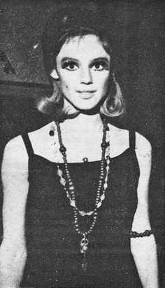 Edie Sedgwick attends a party for Twiggy, 1967