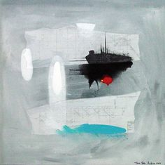 "Abstract modern art large 33""x33"" St. Aubin $295"