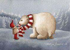 Katja Saario Christmas Cards, Xmas, Christmas Ornaments, Christmas Projects, Gnomes, Illustrators, Paper Art, Fairy Tales, Dinosaur Stuffed Animal