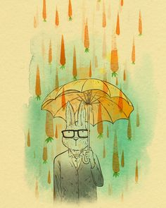 Carrot Rain - watercolor