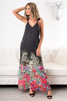 67adc7d552 Say Something Floral Maxi (Onyx) Trendy Dresses