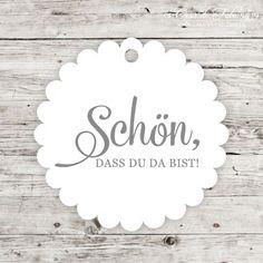 """Geschenkanhänger Klassik - Schön, dass Du da bist: Elegante Geschenkanhänger aus unserer Hochzeitsserie """"Klassik"""" mit dem Text """"Schön, dass Du da bist"""". Die ..."""