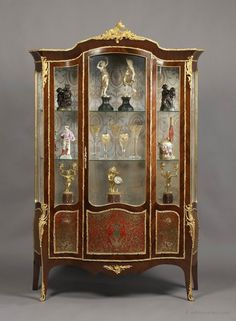 """A Very Fine Louis XV Style Gilt-Bronze Mounted Kingwood Serpentine Vitrine, With Boulle Marquetry Panels. Ca1880 France. 80.31""""H x 53.15""""W x 19.69""""D."""