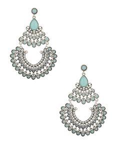 Ice blue-green cloudy faux gem chandelier earrings, $7