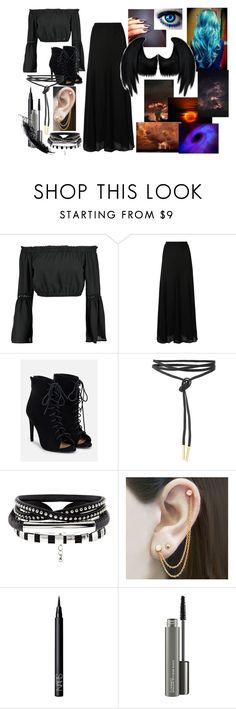 """outfit #26 (eyeless)"" by eyeless-angel-of-death ❤ liked on Polyvore featuring Boohoo, Halston Heritage, JustFab, Embers Gemstone Jewellery, NARS Cosmetics, MAC Cosmetics, Dickies, bleu, Ring of Fire and Mason's"