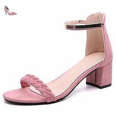 LvYuan Femme Sandales Tissu Printemps Eté Marche Gros Talon Noir Rose 2,5 à 4,5 cm , blushing pink , us6 / eu36 / uk4 / cn36 - Chaussures lvyuan (*Partner-Link)