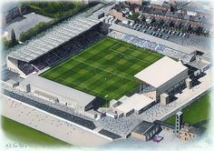 Sincil Bank in Art, home of Lincoln City F.C. Soccer Stadium, Football Stadiums, Lincoln City Fc, Premier Football, English Football League, Aerial View, City Painting, Poster Size Prints, Around The Worlds