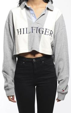 Vintage Tommy Hilfiger Collared Crop Shirt