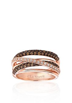 Le Vian® Chocolate Diamonds® and Vanilla Diamonds® Gladiator® Ring in 14k Strawberry Gold®, find more stunners like this at Luisa Graff Jewelers, www.luisagraffjewelers.com #levian #luisagraffjewelers #chocolatediamonds