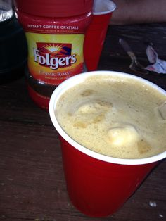 Want a frothy coffee when you're camping? Just pop a marshmallow into your coffee and you've got a latte :)