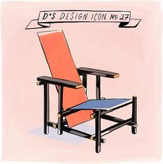 Design*Sponge | Design Icon: Red and Blue Chair by Gerrit Rietveld, ca. 1923 (Illustration by Libby VanderPloeg