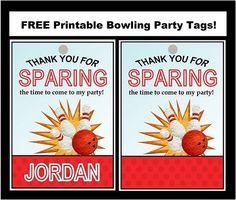 Free Bowling Party Printable Tags! Customizable! Great for decorations or gift bags, with matching printable invitations!