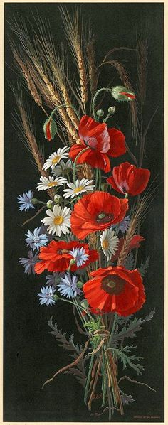 All Things Ukrainian - Art - Poppies / Maky Art Floral, Tole Painting, Painting & Drawing, Ukrainian Art, Botanical Art, Vintage Flowers, Painting Inspiration, Flower Art, Flower Power