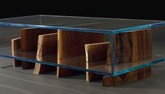GLASS BOX WALNUT COFFEE TABLE Materials: Glass box with American black walnut slab selection Dimensions: x x Options: Trunk slabs per availability or special request, size, style Glass Furniture, Design Furniture, Table Furniture, Walnut Coffee Table, Coffee And End Tables, Glass Boxes, Glass Containers, Console Design, Walnut Slab