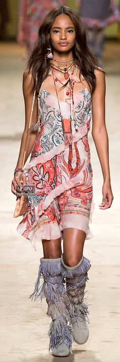 Etro Spring 2015-16 RTW Collection Bohemian runway styled to perfection. I would love to style this on Zendaya Coleman.