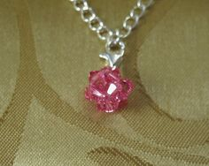 Swarovski Rose Crystal Charm With Sterling Silver by meldiddesigns