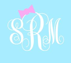 Vine Monogram Decal with Bow by PeachPerfectDesign on Etsy, $2.50