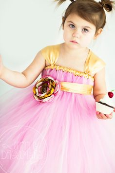 PINK MAUVE Tutu Dress with Handmade Flower Sash on Etsy, $80.00