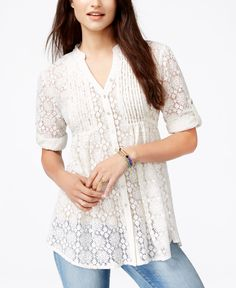 American Rag Pintucked Lace Blouse, Only at Macy's