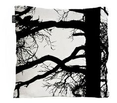 Awesome black and white tree pillow imported from Finland, Du Monde Furnishings.