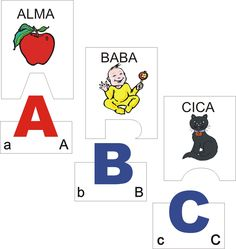 ABC-s puzzle (magyar nyomtatott kis/nagybetűs) - A kártyapárok alsó részén… Toddler Preschool, Learning Activities, Alphabet, Literature, Teaching, Writing, Education, Logos, Puzzle