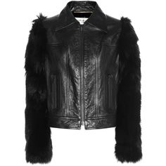 Saint Laurent Fur-Sleeved Leather Jacket (62.803.385 IDR) ❤ liked on Polyvore featuring outerwear, jackets, black, leather sleeve jacket, yves saint laurent, fur jacket, leather jackets and 100 leather jacket