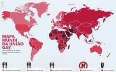 Mapa Múndi da União Civil Gay - Gay Civil Rights around the World