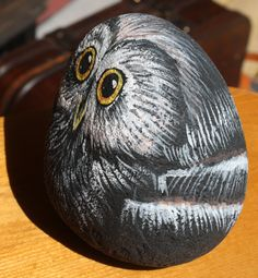 Hand-Painted Owl Rock large by PlatypusCanada on Etsy