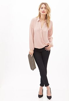 Love 21 - For days when all you want are simple pieces, this woven surplice blouse, featuring a basic collar and buttoned long sleeves, is made with you in mind! Team it with a pencil skirt and heels for a look that can go straight from the office to dinner with friends.