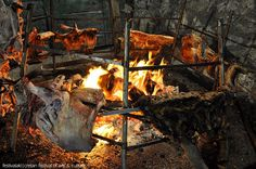 Traditional grilling at Houdetsi festival