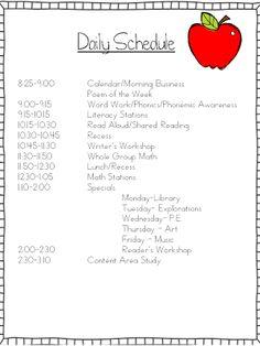 (FREE fIle) Student Organizational Binders, my schedule and Flash Giveaway - Mrs. Wills KindergartenStudent Organizational Binders, my schedule and Flash Giveaway - Mrs. Wills Kindergarten Kindergarten Daily Schedules, Classroom Daily Schedule, Daily Schedule Template, Preschool Schedule, Home School Schedule, First Grade Schedule, Summer Schedule, Kindergarten Curriculum, Teaching
