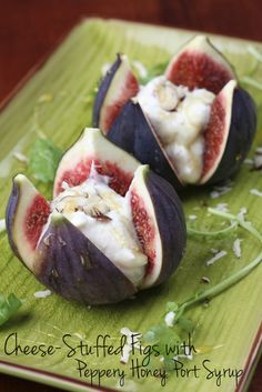 Cheese stuffed figs with honey port! Via @Ericka Sanchez.