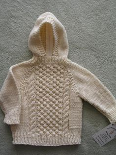 Irish Knit Hoodie - 100% Wool by SFBayKnits, $32.00 USD