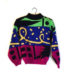 Women's Vintage 90s Sweater - SMALL - Neon Geometric - 1988 Retro Made... ($28) ❤ liked on Polyvore featuring tops, sweaters, sleeve top, retro sweaters, neon top, geometric print sweater and geometric sweater