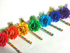 Great news! These boutonnieres are ready to be shipped!    This is a listing for 7 bouts in the colors of the rainbow. Its very whimsy, colorful